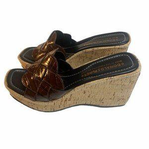 Donald J Pliner Brown Platform Slip On Sandals 8.5